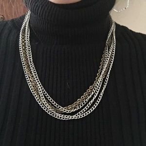 Mixed Metal Multi Chain Necklace
